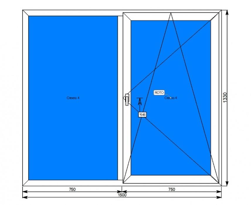 Алюминиевое окно с глухой<br/>и поворотно-откидной створкой