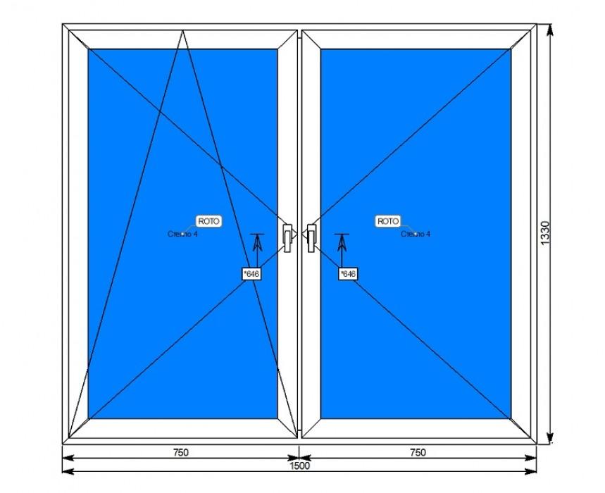 Алюминиевое окно с поворотной<br/>и поворотно-откидной створками